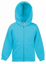 Picture of Kids hooded sweat jacket fruit of the loom Azure Blue
