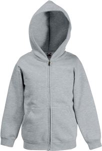 Afbeelding van Kids hooded sweat jacket fruit of the loom Heather Grey