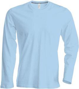 Afbeelding van Heren T-shirt lange mouw met ronde hals Lichtblauw