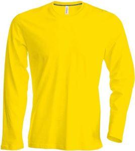 Afbeelding van Heren T-shirt lange mouw met ronde hals Geel