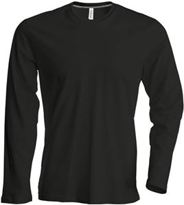 Afbeelding van Heren T-shirt lange mouw met ronde hals Zwart