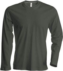 Afbeelding van Heren T-shirt lange mouw met ronde hals Donker Khaki