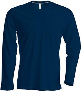 Afbeelding van Heren T-shirt lange mouw met ronde hals Donkerblauw