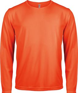 Afbeelding van Heren Sport T-shirt lange mouw Fluorescent Orange