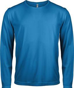 Afbeelding van Heren Sport T-shirt lange mouw Aqua blue