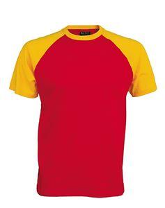 Afbeelding van Tweekleurig baseball t-shirt Rood - Geel