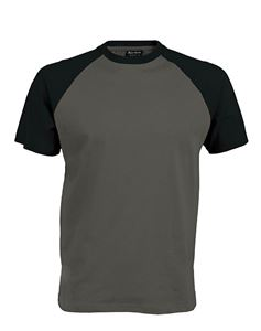 Afbeelding van Tweekleurig baseball t-shirt Grijs - Zwart