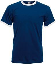 Picture of Ringer T fruit of the loom Marineblauw - Wit