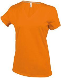 Afbeelding van Dames T-shirt korte mouw met V-hals Orange