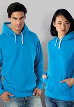 Picture of Contrast hooded sweatshirt Kariban Tropical Blue / White