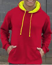 Picture of Superbright Hoodie Fire Red / Electric Yellow