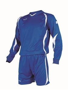 Afbeelding van voetbaltenue blauw-wit lange mouw