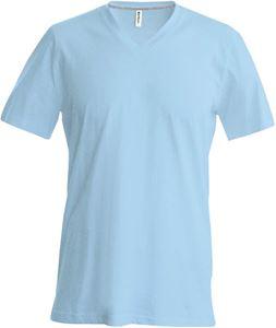 Afbeelding van Heren T-Shirt V Hals Licht Blauw
