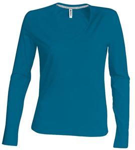 Afbeelding van Dames T-shirt lange mouw met V-hals Tropical blue