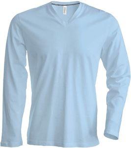 Afbeelding van  Heren T-Shirt Lange Mouw V-Hals Licht Blauw