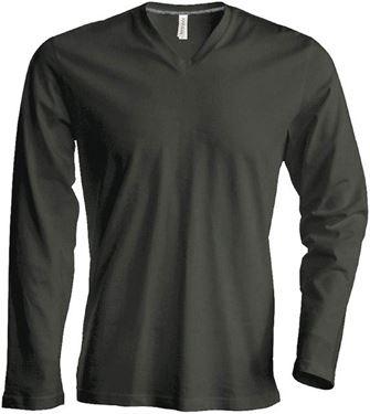Picture of Heren T-Shirt Lange Mouw V-Hals Khaki