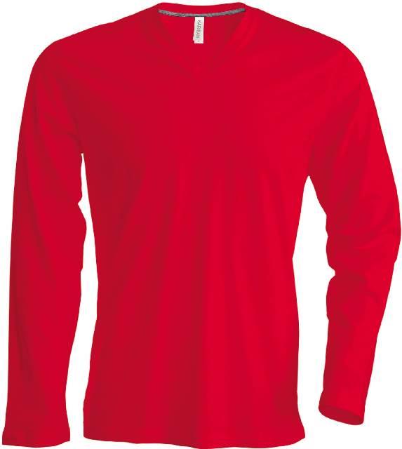 heren t shirt lange mouw v hals rood bestel je makkelijk. Black Bedroom Furniture Sets. Home Design Ideas