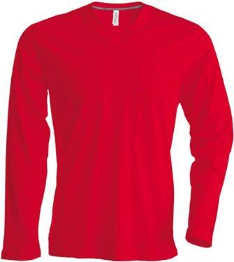 Picture of  Heren T-Shirt Lange Mouw V-Hals Rood