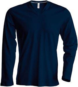 Afbeelding van  Heren T-Shirt Lange Mouw V-hals  Donker Blauw