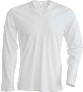 Afbeelding van Heren T-Shirt Lange Mouw V-Hals Wit