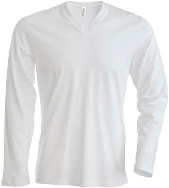 Picture of Heren T-Shirt Lange Mouw V-Hals Wit