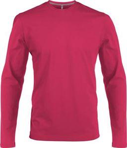 Afbeelding van Heren T-shirt lange mouw met ronde hals Fuchsia