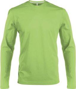Afbeelding van Heren T-shirt lange mouw met ronde hals Lime