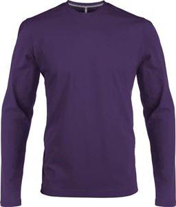 Afbeelding van Heren T-shirt lange mouw met ronde hals Paars