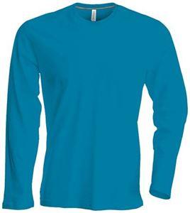 Afbeelding van Heren T-shirt lange mouw met ronde hals Tropical Blue
