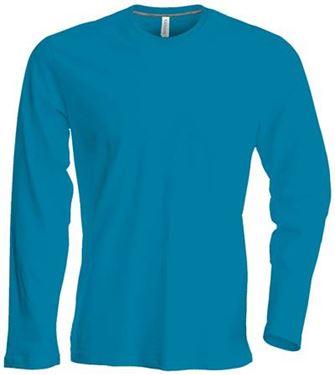 Picture of Heren T-shirt lange mouw met ronde hals Tropical Blue