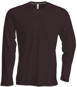Afbeelding van Heren T-shirt lange mouw met ronde hals Chocolate