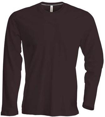 Picture of Heren T-shirt lange mouw met ronde hals Chocolate