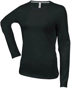Afbeelding van Dames T-shirt lange mouw met ronde hals Black