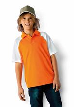 Picture of Baseball Polo voor kinderen Kariban Oranje - Wit