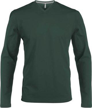 Picture of Heren T-Shirt Lange Mouw V-Hals Forrest Green