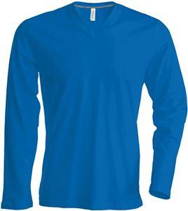 Afbeelding van  Heren T-Shirt Lange Mouw V-Hals Blauw