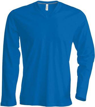 Picture of  Heren T-Shirt Lange Mouw V-Hals Blauw