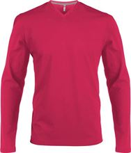 Picture of Heren T-Shirt Lange Mouw V-Hals Fuchsia