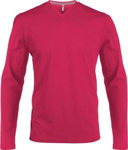 Afbeelding van Heren T-Shirt Lange Mouw V-Hals Fuchsia
