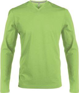 Afbeelding van Heren T-Shirt Lange Mouw V-Hals Lime