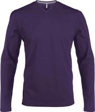 Picture of  Heren T-Shirt Lange Mouw V-Hals Paars