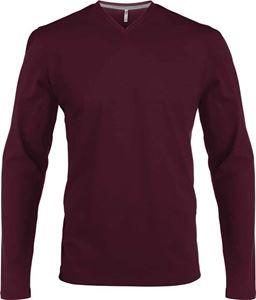 Afbeelding van Heren T-Shirt Lange Mouw V-Hals Wijnrood