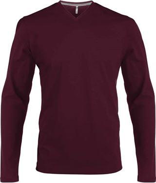 Picture of Heren T-Shirt Lange Mouw V-Hals Wijnrood