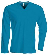 Picture of Heren T-Shirt Lange Mouw V-Hals Tropical Blue