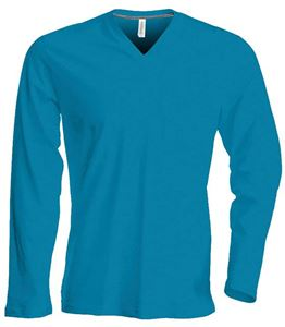 Afbeelding van Heren T-Shirt Lange Mouw V-Hals Tropical Blue