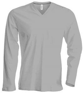 Afbeelding van  Heren T-Shirt Lange Mouw V-Hals Oxford Grey