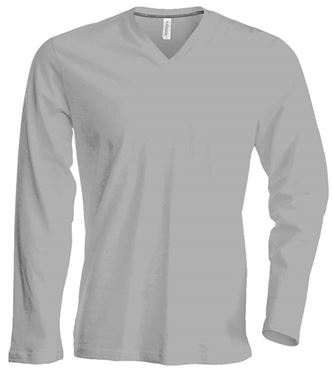 Picture of  Heren T-Shirt Lange Mouw V-Hals Oxford Grey