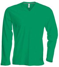 Picture of Heren T-Shirt Lange Mouw V-Hals Kelly Green