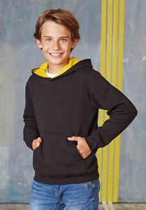 Afbeelding van SALE Kids Contrast Hooded Sweatshirt Kariban Zwart / Geel 152