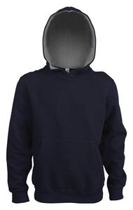 Afbeelding van  Kids Contrast Hooded Sweatshirt Kariban Donkerblauw  / Grijs